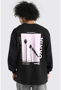 Oversized Palm Back Print Long Sleeve T-Shirt, Black negro