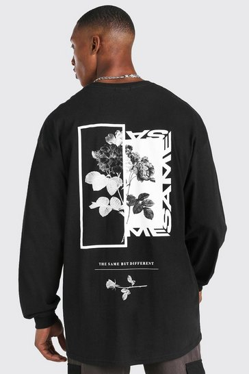 Black Oversized Floral Back Print Long Sleeve T-Shirt