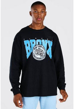 Black Oversized Bronx Basketball Long Sleeve T-Shirt