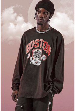 Oversized Boston Long Sleeve T-Shirt, Black schwarz