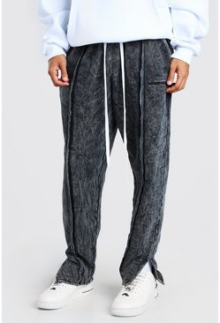 Black MAN Official Loose Fit Split Hem Acid Wash Joggers