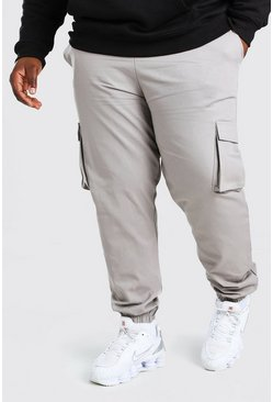 Slate grey Plus Size Utility Woven Cargo Jogger