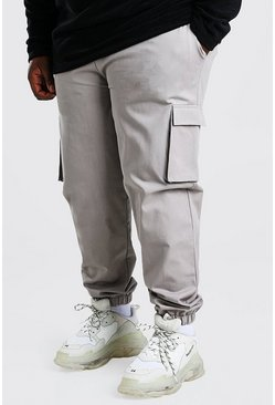 Light grey Plus Size Utility Woven Cargo Jogger