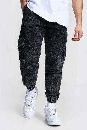 Charcoal grey Regular Fit Acid Wash Cargo Trouser