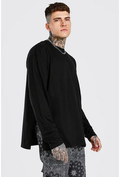 Black Oversized Long Sleeve T-Shirt With Side Opening