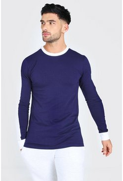 Muscle Fit Side Panel Long Sleeve T-Shirt, Navy marine