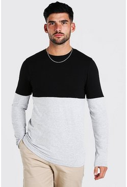 Black Muscle Fit Colour Block Long Sleeve T-Shirt
