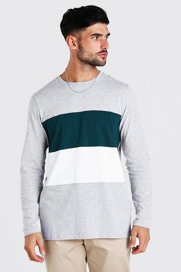 Grey marl grey Longline Colour Block Long Sleeve T-Shirt