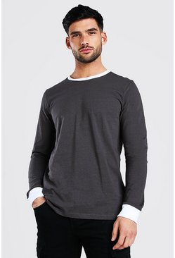 Long Sleeve T-Shirt With Contrast Collar, Slate gris