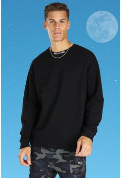 Tall Official MAN Oversized Long Sleeve T-shirt, Black noir