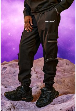 Black MAN Official Cargo Trouser With Zip Pockets
