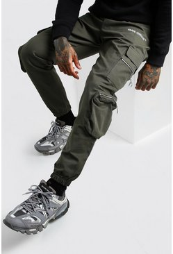 Khaki MAN Official Cargo Trouser With Zip Pockets