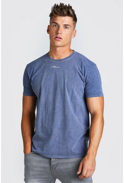 Navy Oversized MAN Signature Overdyed T-Shirt