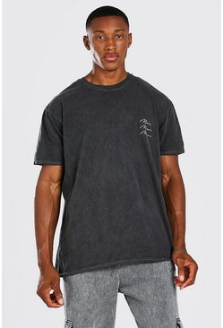 Charcoal grey Oversized Multi MAN Signature Overdyed T-Shirt