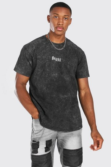 Charcoal grey Oversized Havana Print Enzyme Wash T-Shirt
