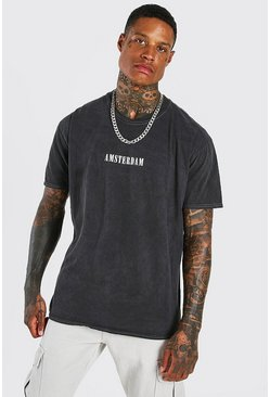Charcoal grey Oversized Amsterdam Print Overdyed T-Shirt