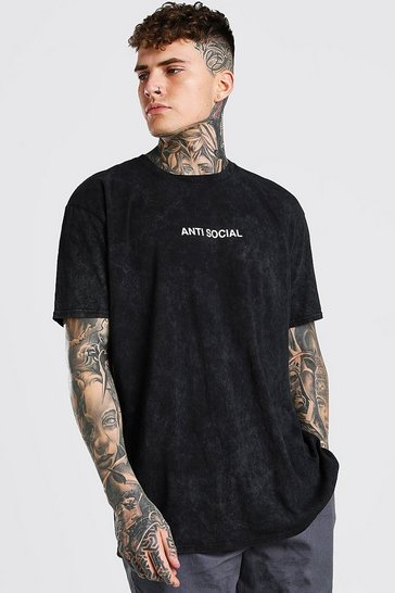Charcoal grey Oversized Antisocial Slogan Enzyme Wash T-Shirt