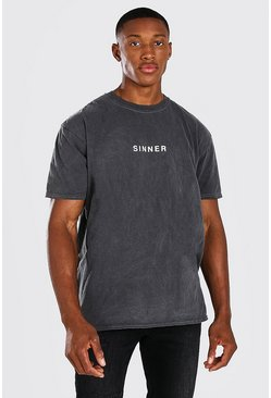 Charcoal grey Oversized Sinner Slogan Overdyed T-Shirt