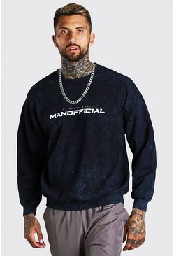 Oversized MAN Official Enzyme Wash Sweater, Charcoal grigio