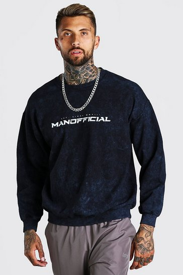 Charcoal grey Oversized MAN Official Enzyme Wash Sweater
