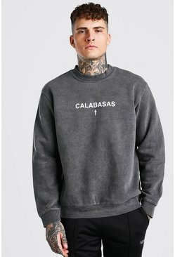 Charcoal grey Oversized Calabasas Print Overdyed Sweater