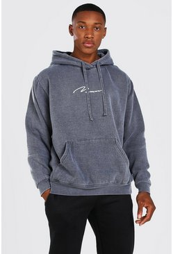 Charcoal grey Oversized MAN Signature Overdyed Hoodie