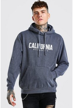 Oversized California Print Overdyed Hoodie, Charcoal grigio