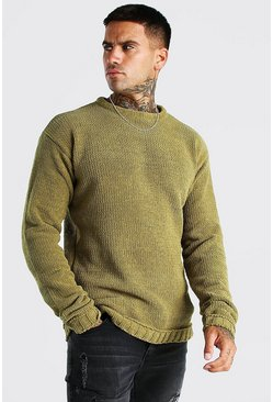 Chunky Crew Neck Knitted Jumper, Khaki Хаки