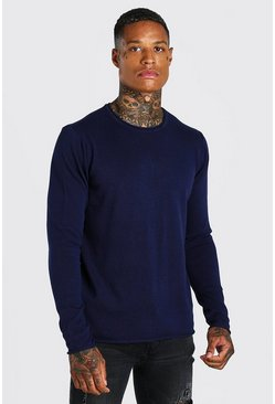 Crew Neck Knitted Jumper, Navy Тёмно-синий