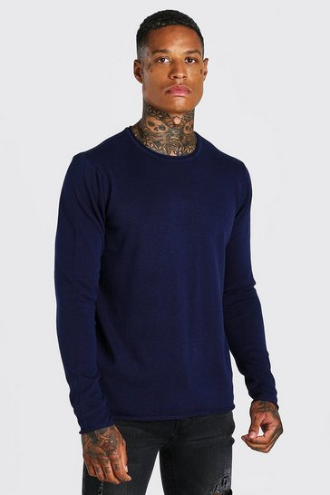 Navy Crew Neck Knitted Jumper