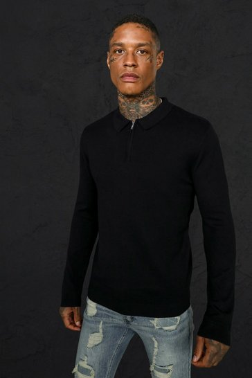 Black Long Sleeve Half Zip Polo Neck Jumper