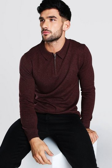 Burgundy red Long Sleeve Half Zip Polo Neck Jumper