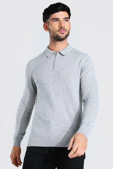 Light grey grey Long Sleeve Half Zip Polo Neck Jumper