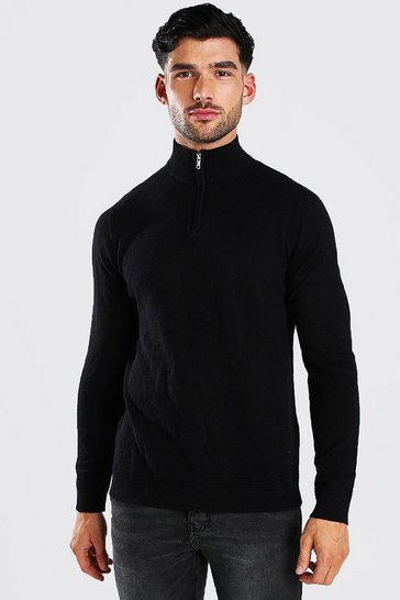 Black Long Sleeve Half Zip Turtle Neck Jumper