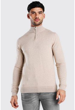 Stone beige Long Sleeve Half Zip Turtle Neck Jumper