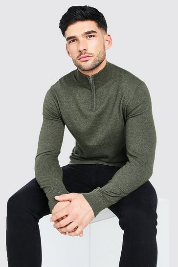 Olive green Long Sleeve Half Zip Turtle Neck Jumper