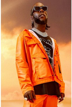 Orange Burna Boy 4 Pocket Field Jacket