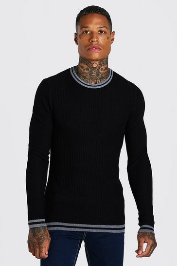 Black Muscle Fit Ribbed Crew Neck With Stripes