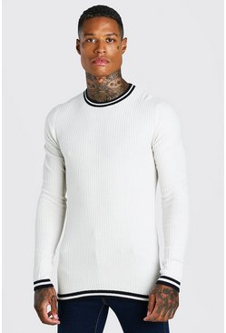 Muscle Fit Ribbed Crew Neck With Stripes, Cream Белый