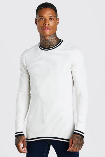Cream white Muscle Fit Ribbed Crew Neck With Stripes