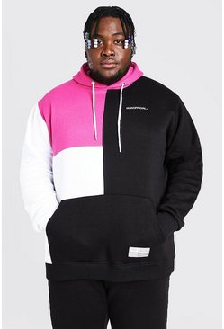 Black Plus Size MAN Official Colour Block Hoodie