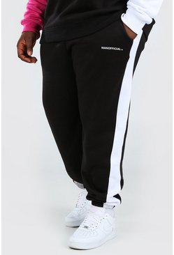 Black Plus Size Man Slim Fit Colour Block Joggingbroek