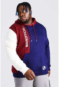 Navy Plus Size MAN Official Colour Block Hoodie