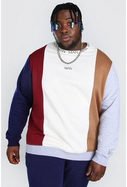 Ecru white Plus Size Man Dash Colour Block Sweater