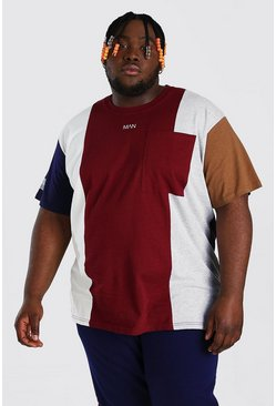 Wine red Plus Size Loose Fit Colour Block T-Shirt