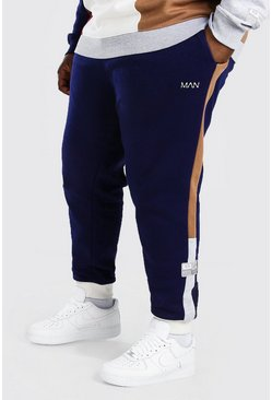 Navy Plus Size Man Colour Block Slim Fit Joggingbroek