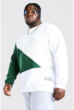 Green Plus Size MAN Script Colour Block Sweater