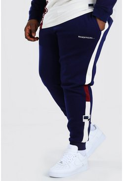Navy Plus Size MAN Slim Fit Colour Block Joggers