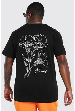 Black Plus Size Floral Drawing Back Print T-Shirt