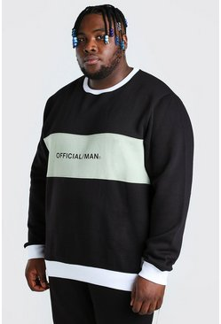 Black Plus Size Official MAN Colour Block Sweater